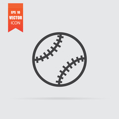 Baseball ball icon in flat style isolated on grey background.