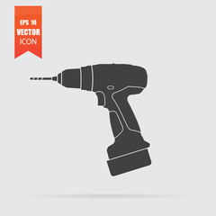 Drill icon in flat style isolated on grey background.