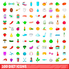100 diet icons set, cartoon style