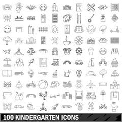 100 kindergarten icons set, outline style