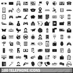 100 telephone icons set, simple style
