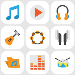 Audio Flat Icons Set. Collection Of Earpiece, Controlling, Button And Other Elements. Also Includes Symbols Such As Button, Guitar, Archive.