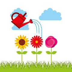 beautiful garden flat icons vector illustration design