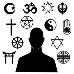 silhouette of a man who chooses a religion. Symbols of major religions in the world. combination of religious symbols