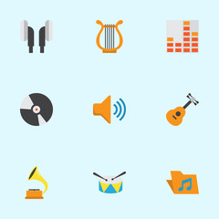 Music Flat Icons Set. Collection Of Sonata, Controlling, Portfolio And Other Elements. Also Includes Symbols Such As Dj, Instrument, Phonograph.