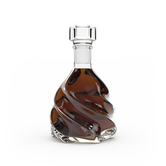 Whiskey bottle isolated 3d rendering