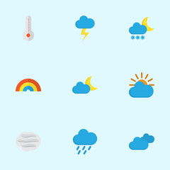 Weather Flat Icons Set. Collection Of Frosty, The Flash, Sunny And Other Elements. Also Includes Symbols Such As Crescent, Rain, Rainbow.