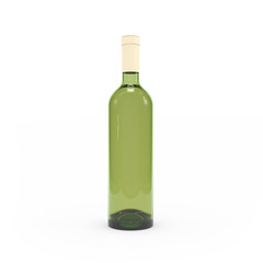 Wine bottle isolated 3d rendering