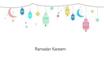 Ramadan Kareem with lamps, crescents and stars. Traditional colorful lantern of Ramadan greeting card