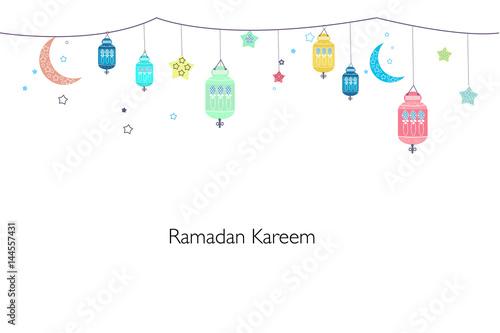 Ramadan kareem with lamps crescents and stars traditional colorful ramadan kareem with lamps crescents and stars traditional colorful lantern of ramadan greeting card m4hsunfo