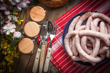 Boiled white sausages.