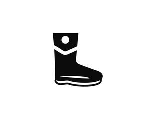 Flat black vector boot icon