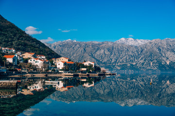 Bay of Kotor snow in the mountains of Montenegro.
