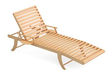 Wooden sun lounger, 3D rendering