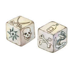 Illustration of two old pirated dice. Hand drawn watercolor painting on white background.