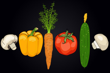 set of vegetables. pepper, carrots, tomato,cucumber, mushroom. useful vegetables. food for vegetarians. vector illustration. black background