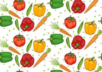 seamless pattern of vegetables. pepper, carrots, tomato. useful vegetables. food for vegetarians. vector illustration.