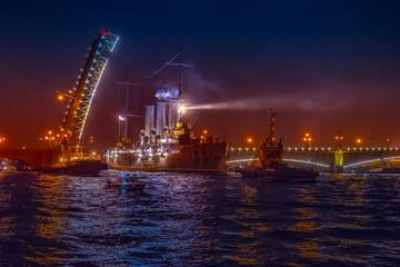 Cruiser Aurora. Trinity Bridge. Divorced bridges. St. Petersburg.