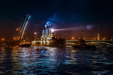 Cruiser Aurora. Trinity Bridge. Divorced bridges. St. Petersburg.