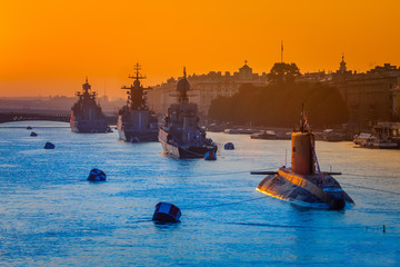 Holiday of the Russian Navy. St. Petersburg. Warships. SPb