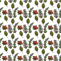 Seamless pattern with berries and leaves. Vector illustration for design diapers or baby wallpapers.
