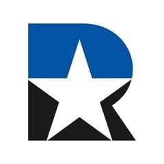 letter r logo vector. star logo vector.