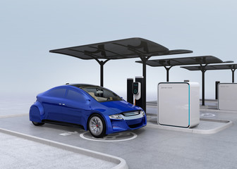Blue electric car in EV charging station. 3D rendering image.