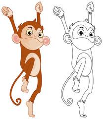 Animal outline for funny monkey