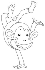 Doodle animal character for monkey