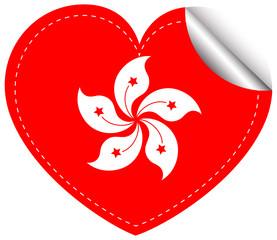 Sticker design for HongKong flag in heart shape