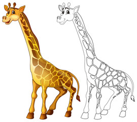 Doodle animal character for giraffe standing