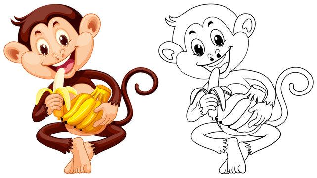 Animal outline for monkey eating banana