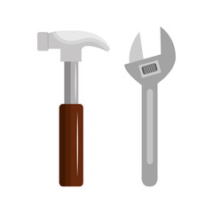 wrench with hammer isolated icon vector illustration design