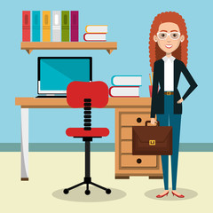 businesswoman in the office avatar character icon vector illustration design