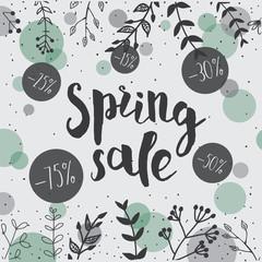 Hand Drawn Spring Sale Design. Floral Vector card.
