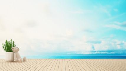 Teddy bear on terrace sea view - 3D Rendering