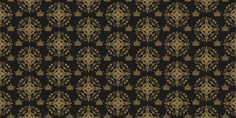 Decorative background in classic style, dark color, seamless pattern. Repeating vintage texture pattern. Vector image