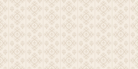 Decorative background in classic style, beige color, seamless pattern. Repeating vintage texture pattern. Vector image