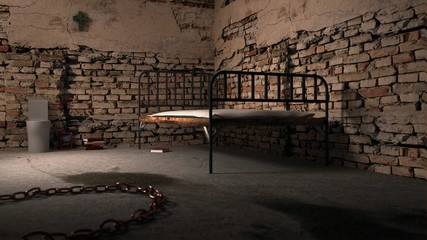 Dark prison room