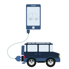 4x4 car connected to a cell phone through a usb cable. Outline of the car being shown on the mobile monitor. Flat design. Isolated.