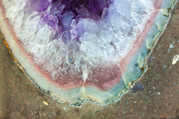 Wall Mural - Close up Amethyst crystal a semiprecious gem