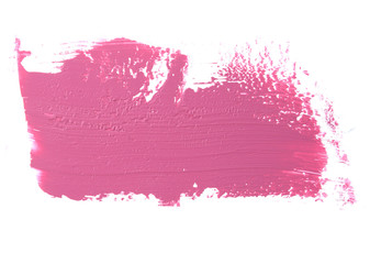 Pink color lipstick stroke on white for background