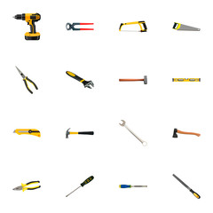 Realistic Turn-Screw, Nippers, Arm-Saw And Other Vector Elements. Set Of Tools Realistic Symbols Also Includes Knife, Level, Spanner Objects.