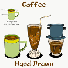 Coffee Hand Drawn on separate layer