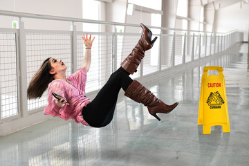 Woman Falling on Wet Floor