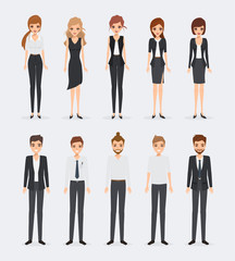 Set of business people in occupation. illustration vector of character design.