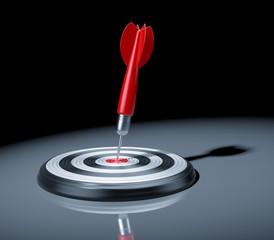 Red dart in the target center of dartboard. 3d illustration