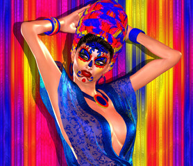 Sexy woman with sugar skull makeup of la Santa Muerte, Mexican mask, day of dead in our unique digital art style! Great image for expressing themes of diversity, spirituality, religion