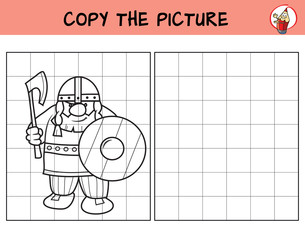 Viking. Copy the picture. Coloring book. Educational game for children. Cartoon vector illustration