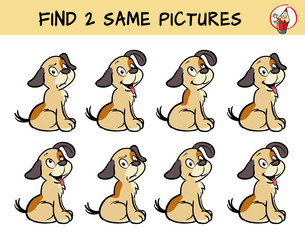 Set of puppies. Find two same pictures. Educational game for children. Cartoon vector illustration